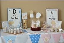Doctor or Nurse Medical Baby Shower Theme / Our little doctor on the way baby shower theme is the perfect theme for parents that work in the medical industry or a mommy or daddy doctor. This baby shower theme pokes fun at the proud parents that are giving birth to the next great doctor or Surgeon!   It offers a prescription background  for your text with the little tike in his scrubs, complete with old fashioned head mirror. Next to him you will find all the supplies he will need to help fix any ouch that hey may encounter. / by Candles & Favors