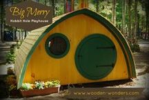 Hobbit Hole Playhouses / Wooden Wonders builds Hobbit Holes for Work or Play.  This board is a collection of images our playhouse models.