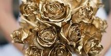 Weddings ~ Gold & Silver / Wedding dresses, shoes, jewellery, invitations and decorations in gold and silver