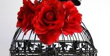 Weddings ~ Red & Black / Wedding dresses, shoes, jewellery, invitations and decorations in red and black
