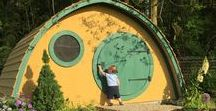 """Adult Sized Multiuse Hobbit Hole / The """"Faehaven"""" is our largest ready-to-assemble Hobbit Hole kit design.  Built to adult proportions, and with a 3' wide rectangular rear door in addition to a round front door, this design can fulfill most any seasonal outdoor building needs:  extra guest space, tea room, writing retreat, garden shed, teen hangout... you name it!   Floor dimension measure 12' x 7', and the floor to ceiling height at the center is 6.5'."""