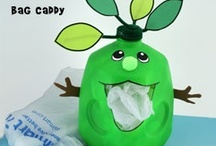 Earth Day Crafts for Kids / Earth Day Craft Green Guy plastic Bag Caddy from www.daniellesplace.com