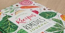 Natural Recipes & Remedies Journal / For the Nutrition Enthusiast and Natural Remedy Seeker | Keep all your favorite recipes, immune boosters, home remedies and much more neatly organized in this fill-in journal, illustrated with love by Carrie Hendrix. Expected to launch in September 2018. Sign up for more details and exclusive early-bird deals at bit.ly/RecipeRemedyJournal // recipe book ideas, family recipe book, food journal ideas, recipe book diy, health journal, recipe book design