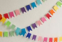 Garlands, bunting, mobiles / Decorative garlands, wall hangings and bunting for big and little people.