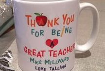 Teacher Gifts / Our lovely selection of teacher gifts that are perfect as a little gift this Christmas! Ranging from hand painted shot glasses to printed hardboard coaster and ceramic mug. All can be personalised with the child and teacher's name to make the gift extra special.