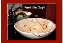 Sinks (Custom-Creative-Cool) / ART On TAP - Hand painted - Custom sinks.   Your choice of custom artwork is hand painted and fired on your choice of ANY commercial porcelain sink. 763-542-1116