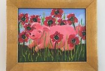 Original Paintings / Happy, whimsical #folkart paintings created by me from my unfettered imaginings