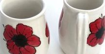 Handmade Mugs / Exclusive one of a kind ceramic mugs made on the potters wheel. A variety of cone 6 lead free glazes are used on some, while I hand paint and clear glaze designs on others. Dishwasher and micro safe.