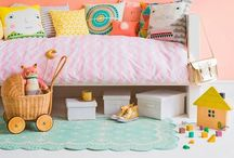 Kids: Rooms / Children's bedrooms. Style; furniture painted in muted pastels - mixed with colorful toys, wall stencils, illustrations, lively patterns & chalkboards - resulting in imaginative creative spaces