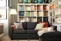 Built-in Shelves & Office/Den Ideas  / We are going to add shelves to to Chad's office to make it part library, part den, part office. With a fireplace it will be a cozy place for me to read and Chad to work.  / by Caroline McKean