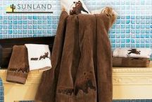 Towels and Linens / Super soft and absorbent towels in coordinated modern rustic themes.