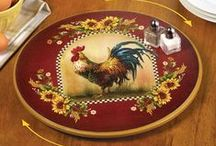 Rooster Kitchen / If you love roosters, look no further for decor inspiration! Rooster rugs, wall decor and more are also perfect additions to your country kitchen.
