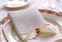 Table Settings for the Holidays / The table linen decor used in these pins can be recreated with table linens from http://www.kristenchef.com/table-linens.html
