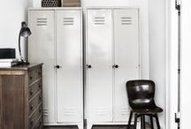 School House Style / Capture this nostalgic look with vintage finds: globes, a chalkboard, pennants and lockers, colorful posters, maps, and well-worn books, as well as classic pendant and desk lighting.