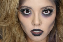 Seasonal / Holiday / Colorful makeup and false eyelashes for Halloween, costume, holiday, St. Patrick's Day, Mardi Gras, New Year's Eve, Valentine's Day, etc.
