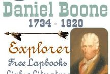 Daniel Boone - Explorer ★·.·´¯`·.·★ / Daniel Boone Explorer. Ideas and tips and free printables for studying about an American legend. Homeschool unit study and lapbook about Daniel Boone. Free printables.  #DanielBoone