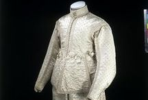 1600-1700 (Baroque) / [Before 1650 and undated pieces]  1600–1650 period is characterized by the disappearance of the ruff in favour of broad lace or linen collars. Waistlines rose through the period for both men and women. For men, hose disappeared in favour of breeches. Sleeves became very full, and in the 1620s and 1630s were often paned or slashed to show the voluminous sleeves of the chemise beneath. ~Wikipedia~ / by Donani