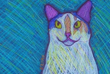 My Creations - Paintings, drawings, and other artworks / Creative artworks by Artist BZTAT, specializing in whimsical, colorful and contemporary pet and animal themed art. Paintings, drawings, collages and other media.