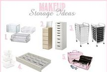 Make-up / Jewelry Organization / Ways to store Makeup, and Jewelry, DIY storage, and containers and furniture to store them in.