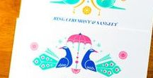 Indian Wedding Invitations and Wedding Stationary / Wedding Invitations with Indian and Pakistani influences.  Bright colors, save the dates, menu cards, wedding programs