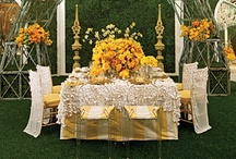 Yellow, pastel yellow, mustard yellow decor / Yellow invitations, yellow flowers, yellow bouquets, yellow centerpieces all perfect for a wedding.  wedding inspiration board / by Shaadi Bazaar