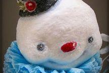 Spun Cotton/ Cotton Batting Vintage Style Ornaments