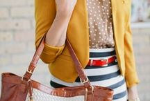My Style / I love dresses, polka dots, floral and other fun patterns, layering, bright colors, blazers, stripes, skirts, sparkles, and statement necklaces.