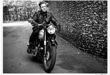 Famous people on vintage motorcycles