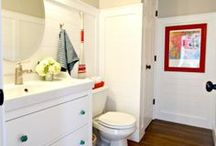 Bathroom Ideas / DIY storage ideas and material ideas (tile, paint colors, fixtures) for bathrooms and powder rooms / by Melissa Beaver