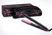 ghd Pink Cherry Blossom Styler / ghd Pink Cherry Blossom limited edition. Includes a ghd Gold Classic styler with shimmering pink plates and matching heat-resistant satin storage bag with floral embroidery detail. In support of breast cancer charities worldwide.