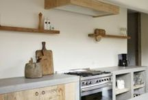 Kitchens / I like when a kitchen feels like a room with real furniture, has no overhead cabinets, has rustic wood island mixed with modern cabinetry. / by Sharon Lumbantobing