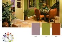 Split Complementary Colour Schemes / Interior design colour schemes that use a main colour and then the two colours to the left and right of the opposite (complementary) colour on the colour wheel.