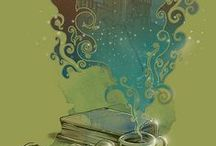 Quotes and art about books / Artwork and quotes about books and reading