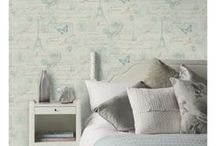 Shabby Chic Wallpaper / Shabby chic themed wallpaper featuring hearts, bunting, flowers and ditsy patterns in pretty pastel and muted tones.
