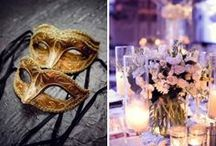 Wedding/Party: Masquerade / Twirling on a candlelit dance floor in bustling gowns, eyes behind feather masks and lips to crystal flutes of sparkling gold champagne is the inspiration for this romantic soiree featuring exotic masks, formal gowns and elegant French décor reminiscent of the opulence enjoyed by the court of the late queen of Versailles herself, Marie Antoinette.