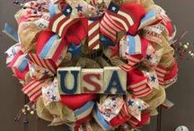 Patriotic Wreaths / Bring out the red, white, and blue for your summer holiday decorating. Creative wreath ideas for Memorial Day, 4th of July and Labor Day. http://bit.ly/patrioticwreaths