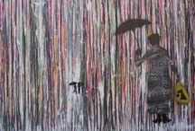 Paraplyer / kunst maleri