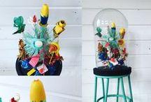 Blomster og vaser/krukker / stilleben blomstermaleri skulptur