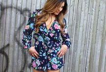 The Floral Print Romper / The Ka-Bloom Floral Print Romper explodes with excitement as shades of pink, green and blue make it way across a navy blue background. ShopLuxy.com / by ShopLuxy