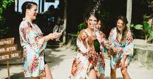 Bride Getting Ready Inspiration / Precious moments: brides getting ready with their Bride Tribe! Gift ideas, wedding day robes, champagne popping, hair & make-up goodness! Wedding day magic in Punta Cana, Dominican Republic