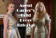 Costume: Agent Carter / References for three costumes from Agent Carter: The Iconic Blue Suit, Undercover Gold Dress, and Assassin Dottie
