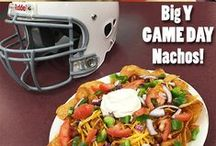 Tailgate / Be prepared to entertain with pizza, wings, grinders, fresh baked pies, cookies, cakes, veggie and fruit platters, chips, dip, candy and soda. We also have gift ideas and party ideas. At BigY World Class Markets we have it all! Go patriots