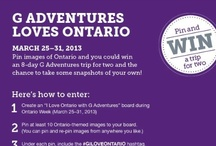 G Adventures Loves Ontario  / HOW TO PARTICIPATE: 1) Between March 25-31 create an 'I Love Ontario with G Adventures' board, 2) Pin 10 Ontario themed items to that board, 3) Tag each pin with #GILOVEONTARIO, 4) Email your board to pinterest@gadventures.com. GOOD LUCK!