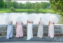Bridal Party - Mismatched Dresses / Create a cohesively coordinated, mismatched bridal party with these amazing styling tips.  - Same fabric; different styles - Different fabric; same color  - Different style and fabric; same color family