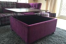 8. Footstools & accessories / Examples of the footstools, ottomans, clutterboxes, storage table solutions we offer in any fabric/s.  Our scatter cushions are all hand made locally - so may be exactly as you specify.