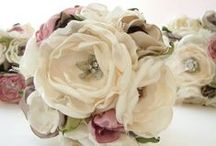 Fabric, ribbon and lace flowers