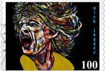 MICK JAGGER & / Retratos de MICK JAGGER en pintura, collages, tecnicas mixtas, arte digital y fotografia realizados por la Artista Carmen Luna.  http://www.carmen-luna.com