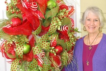 """Deco Mesh Video, Christmas Door Wreath / Nancy has just filmed a brand new NINETY minute video on """"How to Make a Deco Mesh Wreath""""!  Nancy guarantees that you will be able to make a beautiful wreath in no time! Downloadable / Viewable Video Price is $29.97  http://www.ladybugwreaths.com/deco-mesh-christmas-door-wreath/"""