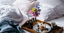 Breakfast in Bed / Plump up the pillows, the best way to spend a leisurely Sunday is with breakfast in bed ... heaven.