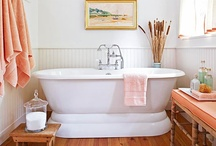 Beautiful BATHROOM Ideas / Decorating and Remodeling Ideas for bathrooms.  Big soaking tubs and sinks and lots of white. #bathroom